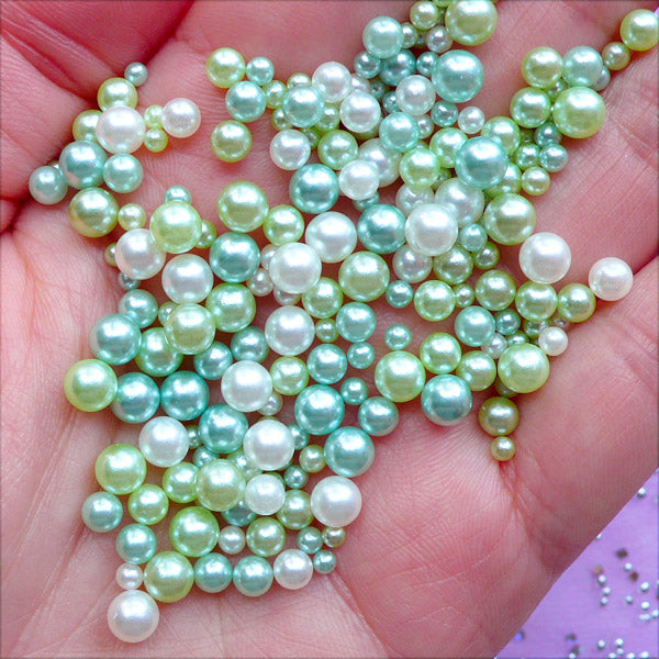 Round Pearl Assortment in Various Sizes | ABS Pearls with No Hole | Kawaii Mermaid Decor | Filling Materials for Resin Art (Dreamy Green Forest / 2.5mm to 5mm / 150-200pcs)