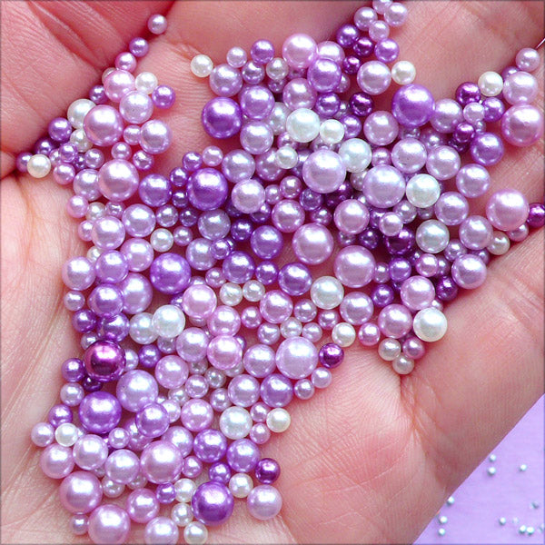 Faux Pearl Assortment In Various Sizes Purple Pearls