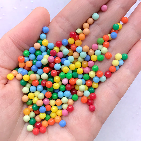 4mm Rainbow Bubblegum Pearls with No Hole | Fake Gumball Candies | Faux Candy | Round Acrylic Pearl | Kawaii Slime Craft Supplies (10 grams)