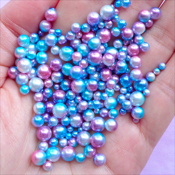 Assorted Mermaid Pearls in Various Sizes | Blue and Pink Gradient Pearl | No Hole Round ABS Pearl (Kawaii Galaxy / 3mm to 6mm / 100-150pcs)