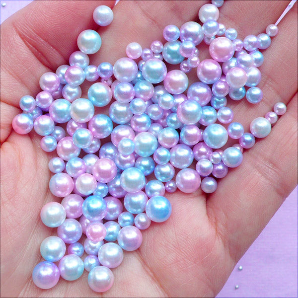 Kawaii Mermaid Pearls in Pastel Gradient | Assorted Faux Pearls in Various Sizes | Round Pearl with No Hole (Pastel Galaxy / 3mm to 6mm / 100-150pcs)