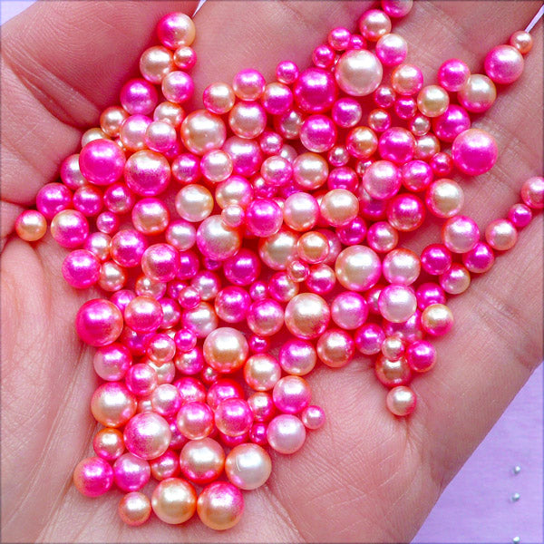 Pink Gradient Mermaid Pearls with No Hole | Kawaii Pearls in Various Sizes | Beach Party Decoration (Mermaid Princess / 3mm to 6mm / 100-150pcs)
