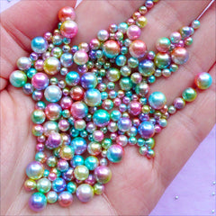 Rainbow Mermaid Pearl Assortment | Rainbow Gradient Unicorn Pearls in Various Sizes | Kawaii Round Pearls with No Hole (Unicorn Mermaid / 3mm to 6mm / 100-150pcs)