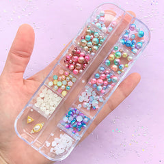 Mermaid Pearl Assortment | Assorted ABS Pearls | Round Pearl | Half Pearl | Kawaii Nail Charms (12 Designs)