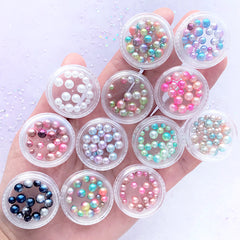 Assorted Rainbow Gradient Mermaid Pearl | Round ABS Pearl Assortment | No Hole Pearls | Kawaii Resin Inclusions (12 Boxes)