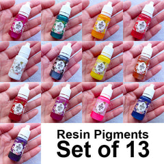 Resin Pigment Set | Epoxy Resin Colorant | UV Resin Color | Resin Coloring | Resin Dye | Kawaii Resin Art (Set of 13 Colors / 10 grams per bottle)
