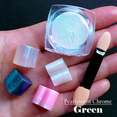 Shimmer Pearlescent Pigment (Green) | Chrome Effect Pigment | Colour for Epoxy Resin | Iridescent Pearl Nail Powder (2 grams)