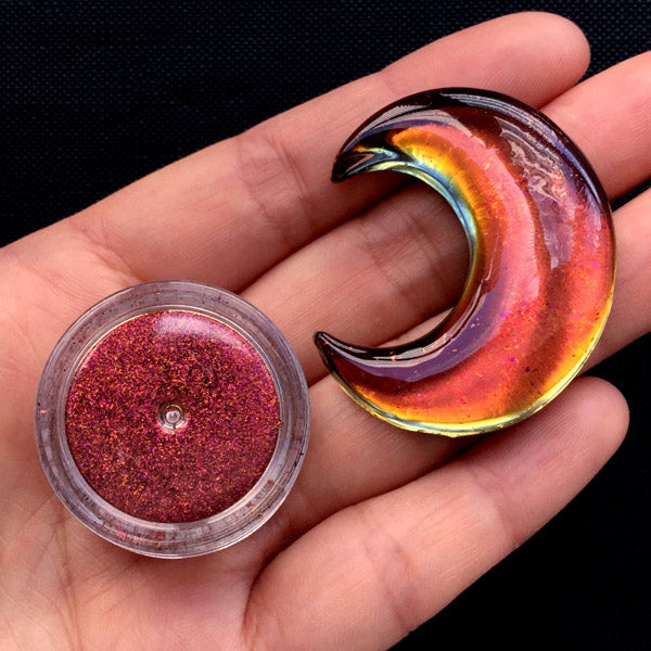 Chameleon Pigment Flakes | Magical Resin Coloring | Colour Shifting Chrome Pigment | Galaxy Decoden (0.2 gram / Red)