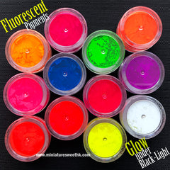 Fluorescent Pigment Set | Glow under Black Light | Neon Pigments | Luminous Paint | Resin Dye | Resin Coloring (12 Color Mix)