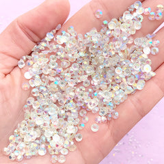 AB Clear Resin Rhinestones | 4mm Faceted Round Crystal | Sparkle Embellishments | Bling Bling Jewelry Supplies (SS16 / 500pcs)