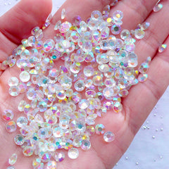 AB Transparent Resin Rhinestones | 4.5mm Round Faceted Rhinestones | Phone Case Decoden | Bling Bling Home Decoration | Scrapbooking | Card Making (SS19 / 500pcs)