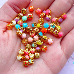 Neon Pastel Color Sew On Rhinestones | 5mm Round Acrylic Rhinestones | Nail Design & Sewing Supplies (Colorful Mix / 4pcs by Random)