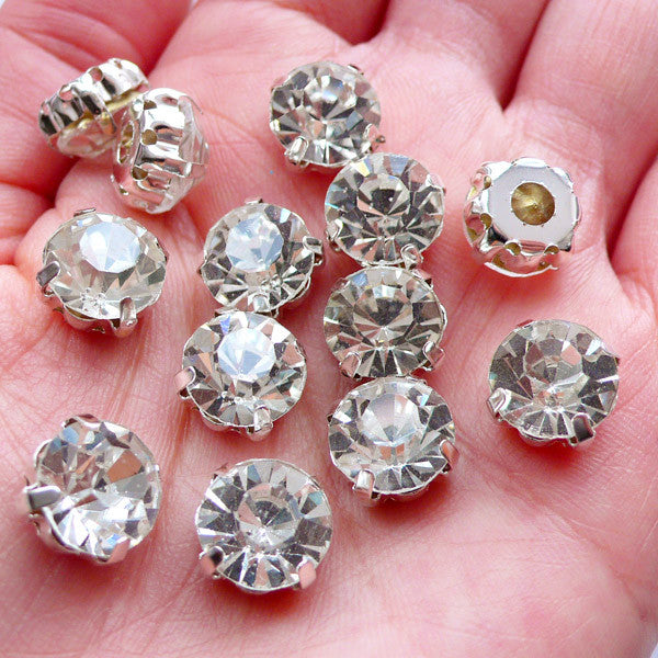 10mm Sew On Glass Gemstones | SS45 Glue On Glass Rhinestones | Loose Glass Crystal | Bling Bling Wedding Supplies | Sewing Crafts (Clear with Silver Setting / 12pcs)
