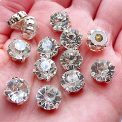 CLEARANCE 10mm Sew On Glass Gemstones | SS45 Glue On Glass Rhinestones | Loose Glass Crystal | Bling Bling Wedding Supplies | Sewing Crafts (Clear with Silver Setting / 12pcs)