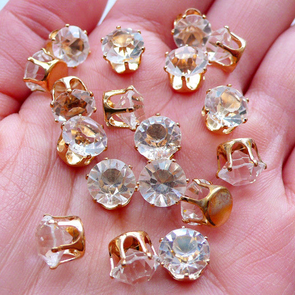 8mm Glue On Glass Rhinestones with Crown Setting | SS38 Glass Crystal | Loose Gemstones | Round Stones | Wedding Decoration | Bling Bling Decoden Supplies (Clear with Gold Setting / 10pcs)