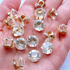 10mm Glue On Glass Crystal with Crown Setting | SS46 Glass Rhinestones | Loose Stones | Round Gemstones | Wedding Supplies | Bling Bling Decoration (Clear with Gold Setting / 6pcs)