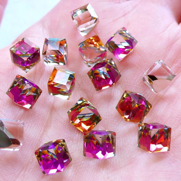 Cube Shaped Glass Rhinestones with Flat Back Silver Foiled Corner | Cubic Glass Gemstones | Glue On Glass Jewel | Faceted Square Crystal | Bling Bling Aurora Borealis Embellishment (6pcs / 6mm / AB Clear )