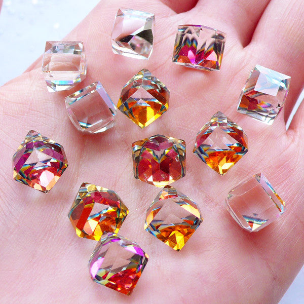 AB Glass Crystal | Aurora Borealis Cubic Glass Gems with Flatback Silver Foiled Corner | Square Cube Shaped Gemstones | Glue On Rhinestones | Faceted Square Jewels | Bling Bling Jewelry Making | Wedding Supplies (4pcs / 8mm / AB Clear)