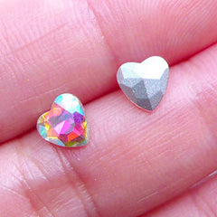 AB Heart Rhinestone | 6mm Pointed Back Rhinestones | Bling Bling Decoden Supplies | Wedding Decoration | Nail Art (6pcs / AB Clear)
