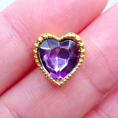 Heart Rhinestone with Setting | Bling Bling Embellishment | Hair Bow Center | Kawaii Decoden Supplies | Wedding Decorations (1 piece / Dark Purple / 11mm x 11mm)
