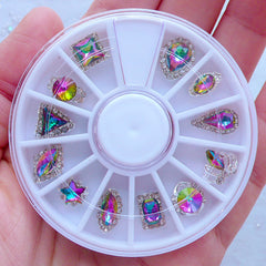 Assorted AB Rhinestones in Various Shapes | Faceted Gemstone Assortment | Bling Bling Nail Art | Teardrop Oval Rhombus Star Crown Triangle Rectangle Round Square Crystal (Clear & AB Purple Green / 12pcs)