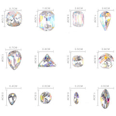 Faceted AB Glass Rhinestone Assortment | Bling Bling Gemstones in Various Shapes | Sparkle Crystal Gems in Round Teardrop Rectangle Square Navette Triangle Shapes (AB Clear / 12pcs)