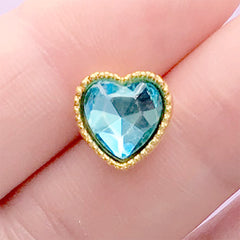 Heart Gemstone with Gold Setting | Rhinestone Embellishment | Hair Bow Center | Kawaii Craft Supplies (1 piece / Blue / 10mm x 10mm)