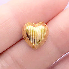Kawaii Heart Gem with Gold Setting | Bling Bling Bow Center | Sparkle Embellishment | Decoden Supplies (1 piece / Dark Pink / 10mm x 10mm)