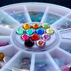 4mm Pointed Top Rhinestone Wheel | Assorted Acrylic Rhinestones in AB Colors | Phone Case Decoden Supplies | Bling Bling Nail Art | Scrapbooking & Card Making (Colorful Mix)