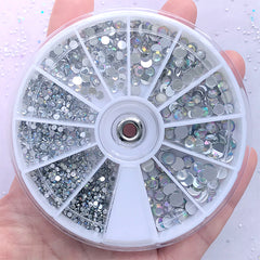 Acrylic Rhinestone Wheel | AB Clear Rhinestone Mix | Bling Bling Decoden Phone Case | Nail Decoration | Scrapbook Supplies (1.5mm, 2mm, 3mm, 4mm & 5mm)