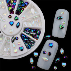 Assorted Acrylic Rhinestone Wheel in Heart, Navette & Round Shapes | AB White & AB Black Rhinestone Mix | Decoden & Nail Art Supplies
