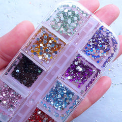 2mm Acrylic Rhinestone Assortment | Assorted Round Rhinestones | Nail Art | Bling Bling Decoden (Box of 12 Colors / Around 3600pcs)