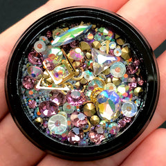 Assorted Rhinestones Gems Metal Accents Micro Beads | Bling Bling Decoration | Nail Art Supplies (Purple Pink & AB Clear)
