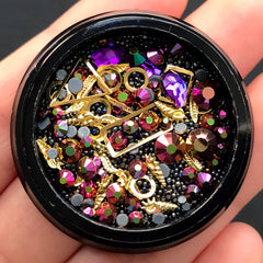 Rhinestones Metal Accents Micro Beads Gemstones Assortment | Shaker Charm Making | Nail Art Decoration (Purple Pink & Black)