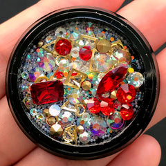 Gemstones Glass Rhinestones Metal Accents Micro Beads Mix | Shaker Charm DIY | Bling Bling Embellishments (Red & AB Clear)