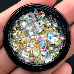 AB Clear Rhinestones Glass Gemstones Micro Beads Metal Accents Assortment | Kawaii Craft Supplies | Bling Bling Nail Decoration (AB Clear)