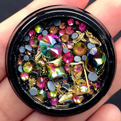 Iridescent Gemstones Rhinestones Metal Accents Micro Beads Mix | Kawaii Goth Decoration | Memory Locket Supplies (Iridescent Black)