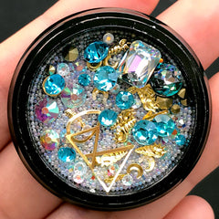 Glass Rhinestones Gems Metal Accents Micro Beads Assortment | Shaker Charm DIY | Bling Bling Memory Locket Making (Aqua Blue & AB Clear)
