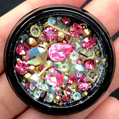 Bling Bling Rhinestones Metal Accents Micro Beads Glass Gems Mix | Shaker Charm Making | Memory Locket DIY (Pink & AB Clear)