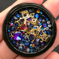 Iridescent Rhinestones Glass Gemstones Micro Beads Metal Accents Mix | Filling Materials for Shaker Charm | Kawaii Gothic (Purple Blue & Black)