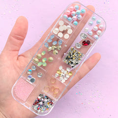 Small Embellishment Assortment for Nail Art | Assorted Gemstones Rhinestones Pearls | Resin Inclusions (12 Designs)