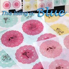 CLEARANCE BLUE Round Lace Sticker Set - Scrapbooking Packaging Party Gift Wrap Diary Deco Collage Home Decor S024