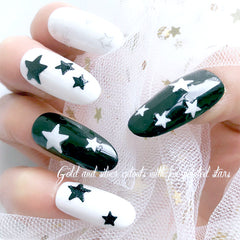 White Star Sticker with Glitter | Glittery Nail Decorations | Resin Art Supplies