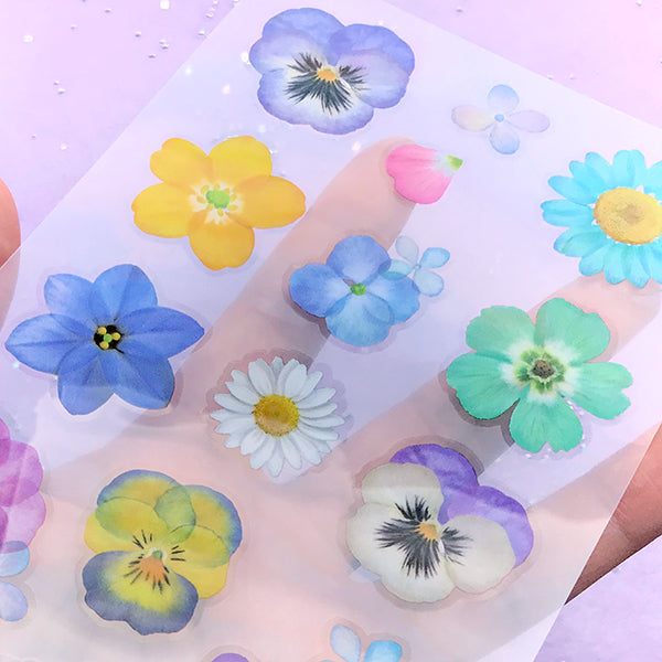 pack of 12 Blue Hydrangea 1.5 Real Pressed Flower Decorating Stickers