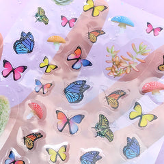 Butterfly Mushroom Succulent Plant Stickers | Nature Stickers for Herbarium | Clear Sticker for Resin Art | Home Decoration