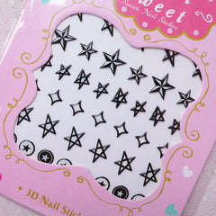 Star Nail Sticker (Black and White) Kitsch Nail Decoration Funky Nail Art Kawaii Diary Deco Card DIY Scrapbook Embellishment Manicure S273