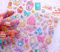 Vintage Tea Party Stickers | Kawaii Lolita Afternoon Tea Sticker | PVC Stickers for Resin Crafts