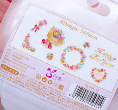 Happy For You Flower Stickers | Translucent Floral Paper Stickers | Colorful Wedding Stickers (Wreath, Rose / 8 Designs / 34 Pieces)