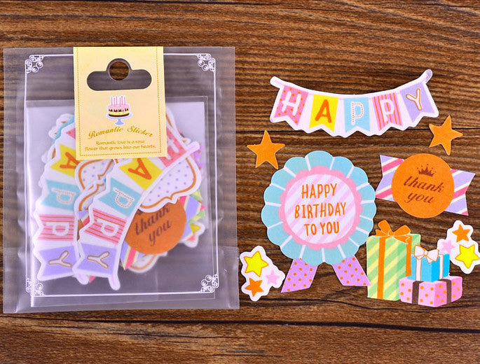 Cute Happy Birthday to You Stickers in Kawaii Pastel Colors | Semi Transparent Paper Stickers | Planner Decoration (Birthday Cake, Thank You, Gift Box, Happy Banner, Badge / 8 Designs / 34 Pieces)