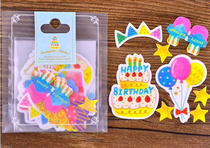 Colorful Birthday Party Stickers | Translucent Paper Stickers | Kawaii Planner Deco (Birthday Cake, Gift Box, Banner, Birthday Glasses / 8 Designs / 34 Pieces)